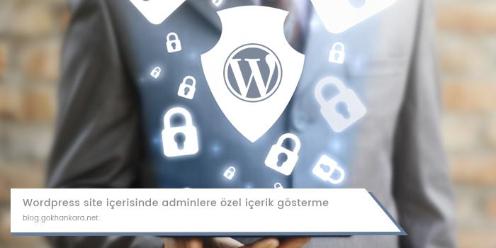 WordPress site içerisinde adminlere özel içerik gösterme
