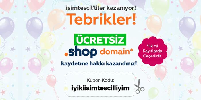 İsimtescil'den ücretsiz .shop domain!